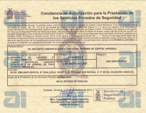 Permiso SSP Sinaloa - Al Instante Comunicaciones